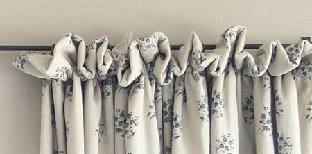 """Frill Top  A really popular one with our customers! Simply achieved by using a basic 1"""" curtain tape with two to three inches above for the frill.  Frill Top curtains drapes"""