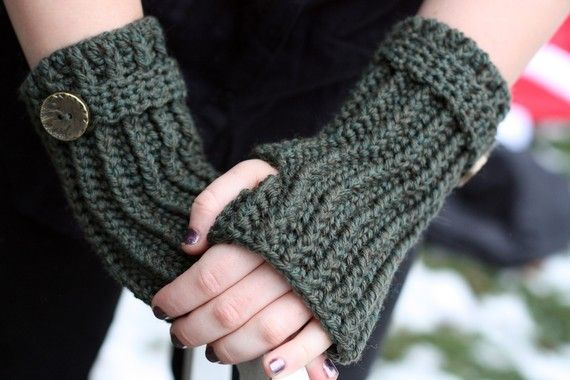 Crochet Accessory Pattern Directions for Making Fingerless Gloves Ribbed Wrislets PDF Pattern Instant Download