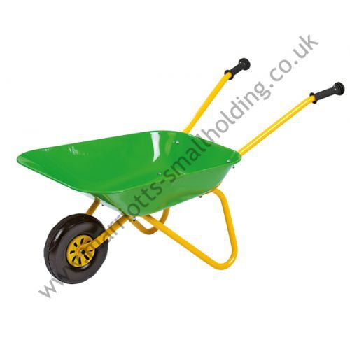 Metal and Plastic Wheelbarrow Green and Yellow  - Rolly Kid - £20.41 ex. VAT