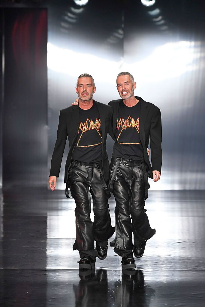 Fashion Designers Dean And Dan Caten Walk The Runway At The Dsquared2 Mens Winter Fashion Mens Fashion Week Fashion Design