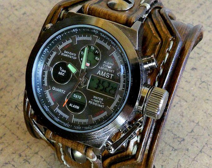 Reloj digital de cuero, cuero marrón brazalete de cuero, reloj de pulsera, reloj, brazalete de cuero de los hombres, pulsera, brazalete de reloj amplia, regalo de cuero