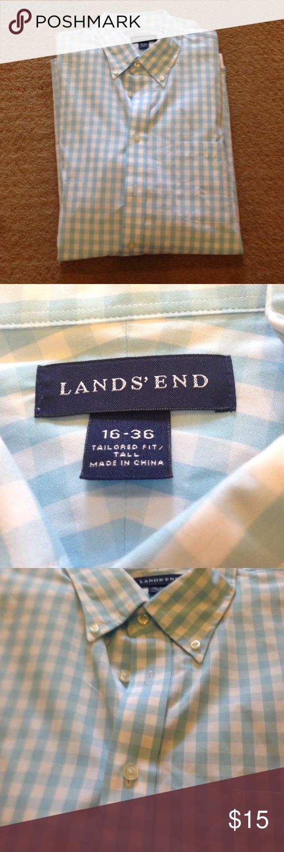 Light blue gingham shirt Excellent condition! Never worn Lands' End Shirts Casual Button Down Shirts