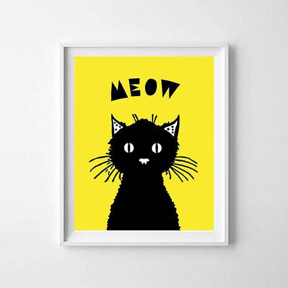 Cat cat nursery cat  printable cat lover gift cat print