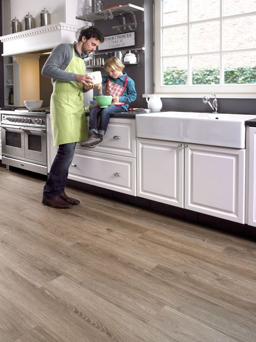 Authentic Oak Light Brown Plank White Cupboard Grey