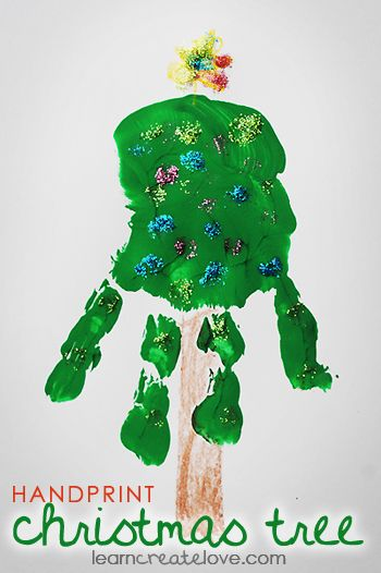 { Simple Handprint Christmas Tree } | LearnCreateLove.com