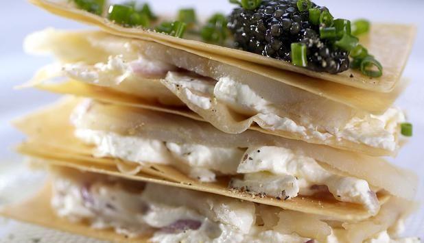 Millefoglie di Baccalà con formaggella al pepe nero