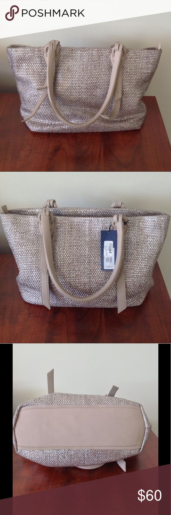 """Cole Haan Bethany Weave Medium Tote 👜❤️ Lovely Cole Haan Purse! Handwoven leather with silver finish. The silver finish has worn off or imprinted on the smooth leather places as shown in pictures. Otherwise this Purse is in great condition and includes original tags!  Just been sitting in the back of my closet for a while. 17"""" L x 11.5"""" H x 9"""" D.  Smooth leather is a pink/grey color. Gold toned hardware. Zipped internal pouch, Blazer Blue lining, and a zip closure to keep your stuff safe…"""