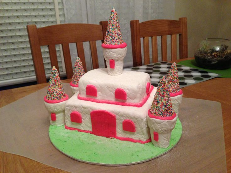 Castle Cake for Miss M's 3rd birthday. All completely edible.