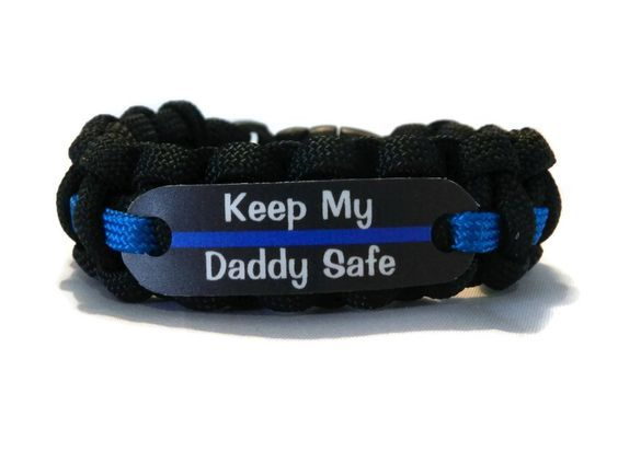 Keep my Daddy Safe Thin Blue Line Bracelet for Police Officers Kids - Just for Kids -