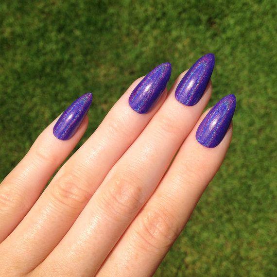 Ultra Holographic Purple Stiletto nails Nail by prettylittlepolish