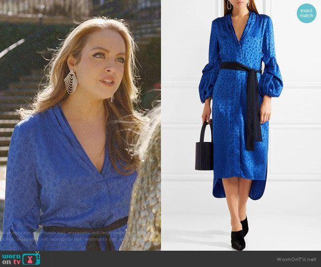 Fallon s blue floral belted dress on Dynasty. Outfit Details  https    wornontv d2011a5b1