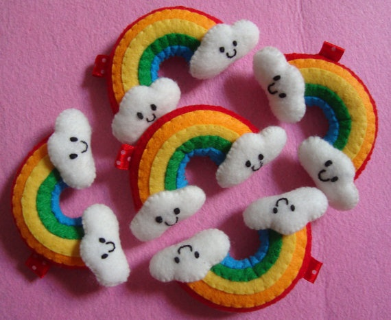 Kawaii RAINBOW  Phone charm key chain   Felt by LittleLoveHM, $5.50