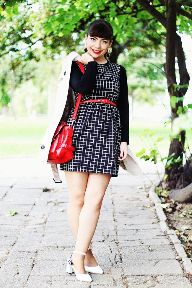 """Drawing Dreaming: """"Hot and Cold"""" > Outfit - Black chess print dress; red camera bag; beige trench coat; red belt; white houndstooth heels; black and white long earrings"""