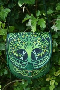 SkyRavenWolf.com - Elaborately detailed medium sized bag with Tree Of Life flap, knotwork and Green Man back