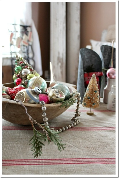 Christmas Past...old ornaments in a wooden dough bowl.