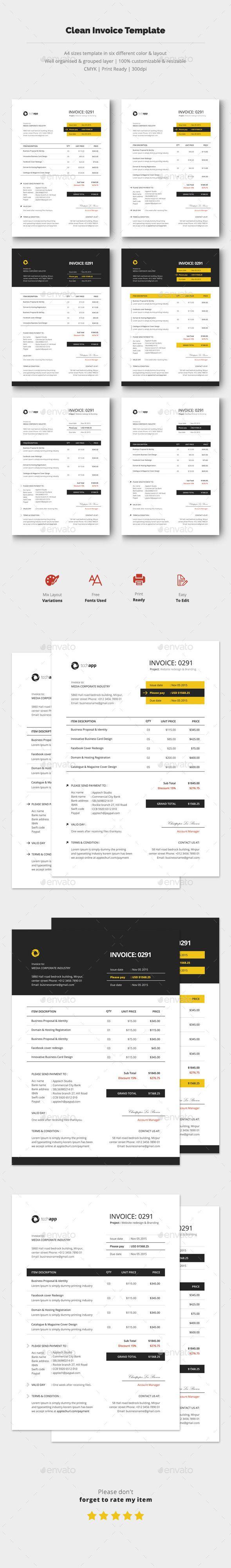 Clean Invoice Template PSD #design Download: http://graphicriver.net/item/clean-invoice-template-vol3/14297178?ref=ksioks