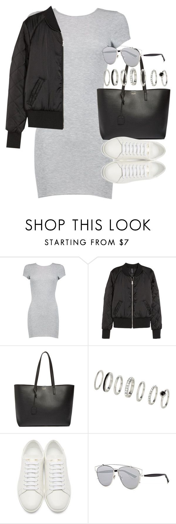 """Outfit with a dress and bomber jacket"" by ferned ❤ liked on Polyvore featuring Boohoo, H&M, Yves Saint Laurent and Christian Dior"