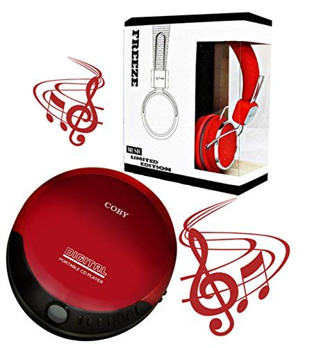 Coby portable compact CD player With bonus I-kool Freeze series Limited Edition bass Wired headphones (RED)  Includes: 1 Coby Portable CD player in Red & 1 I-kool Limited Edition Headphones in Red  Cushioned Adjustable earpads and headrest to maximize comfort Enhanced bass with noise canceling technologies to give it the perfect balance you need  Slim Compact Design. Digital LCD Display. Skip, Search, Pause/Play. Digital volume control. 3.5mm Headphone Jack and Low battery indicator. B...