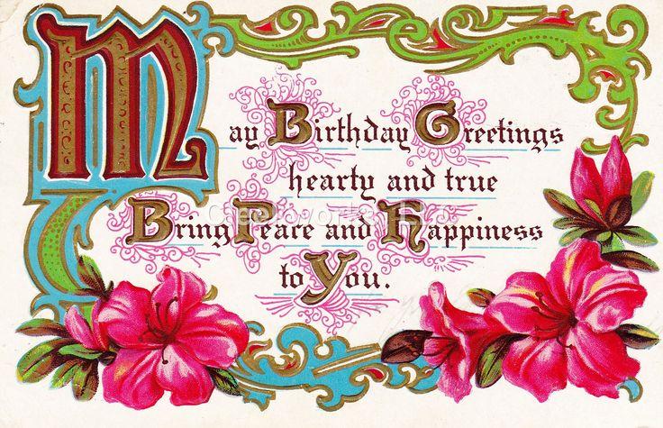 "Birthday Postcard ""May birthday greetings hearty and true..."""