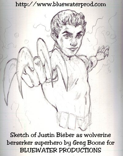 Sketch of Justin Bieber as super hero Wolverine for the upcoming Justin Bieber biography comic from Bluewater Productions and http://www.boonestoons.com