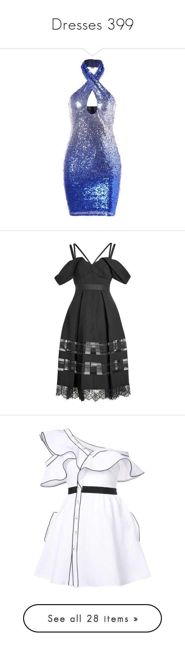 """""""Dresses 399"""" by singlemom ❤ liked on Polyvore featuring dresses, short white cocktail dress, white sequin cocktail dress, sequin mini dress, halter tops, blue cocktail dresses, black, scalloped dress, scalloped edge dress and fit flare dress"""