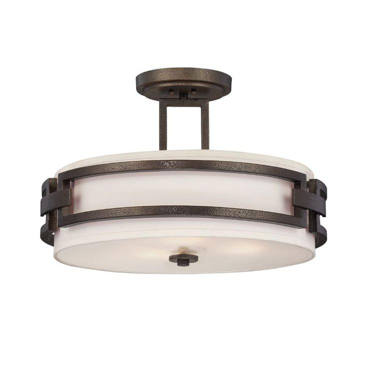 53 best Lights images on Pinterest   Light fixtures  Semi flush     Designers Fountain Del Ray 3 Light Flemish Bronze Interior Incandescent Semi  Flush Mount