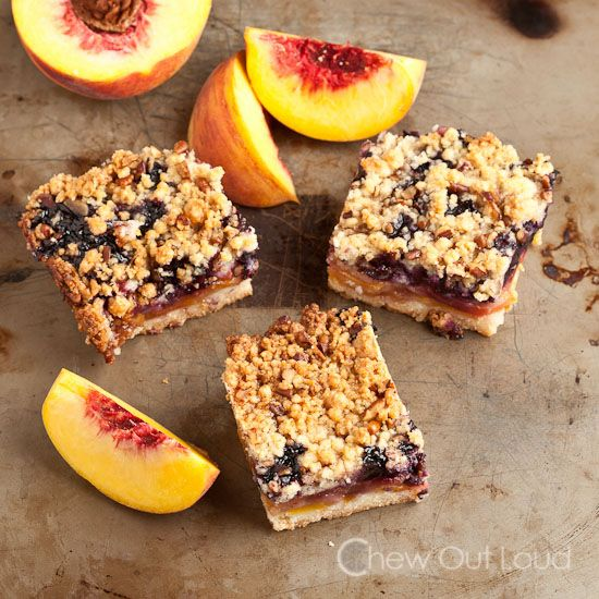 Peach 'n Blueberry Crumb Bars - Chew Out Loud