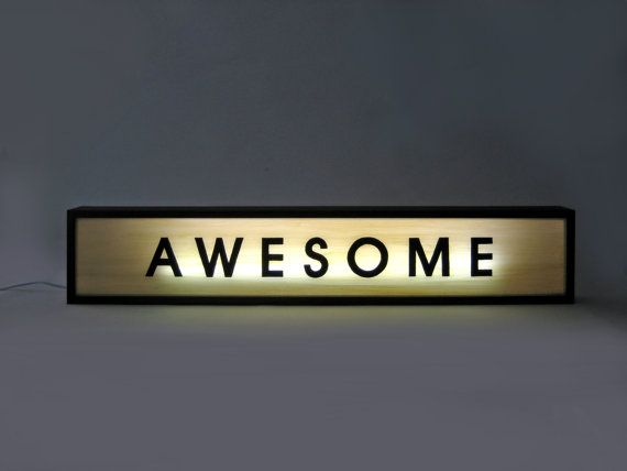 "Large 84cm Hand Painted Wooden Light Box Signs ""AWESOME"" Vintage Illuminated Sign / Light Up Sign / Lighted Sign / Home Cafe Decor"
