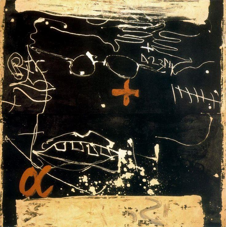 Antoni Tàpies - Cara i mans sobre negre. 1990