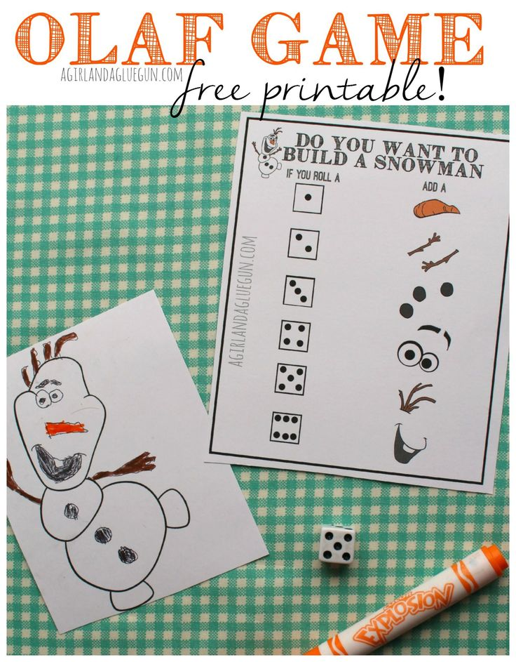 Do you want to build a snowman? Frozen Olaf game and printable. - A girl and a glue gun