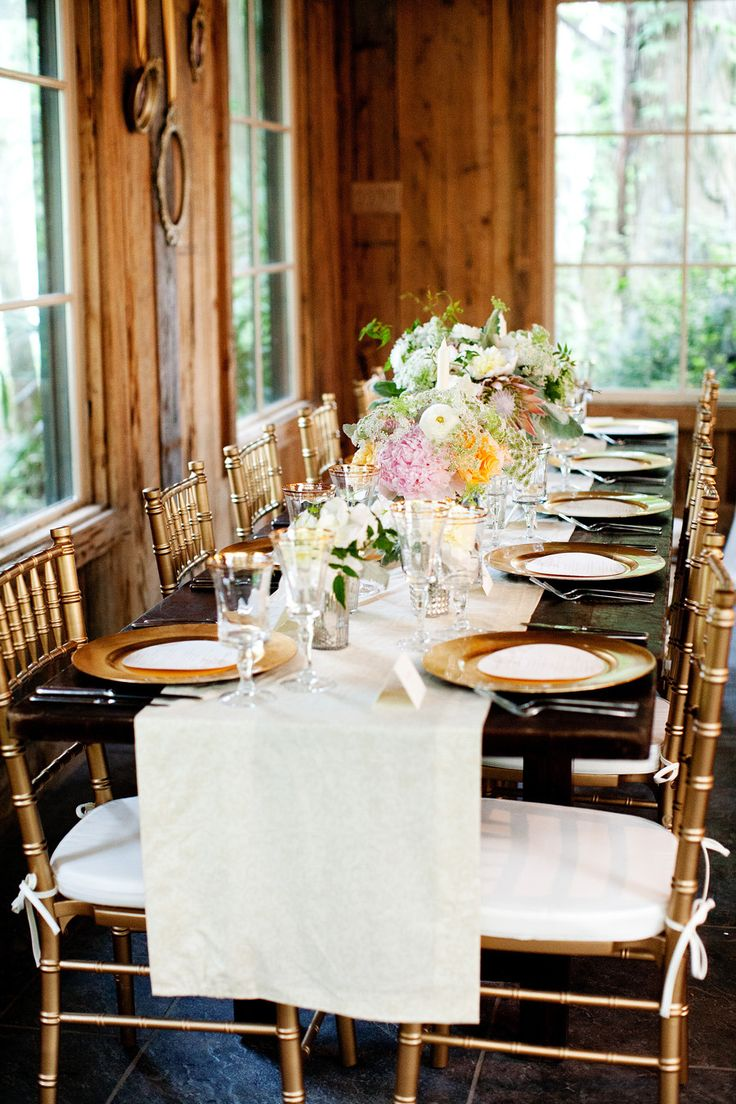Pretty Wedding Tablescape on SMP -- http://www.StyleMePretty.com/little-black-book-blog/2014/01/14/traditional-magnolia-plantation-wedding/ Kimberly Kay Photography