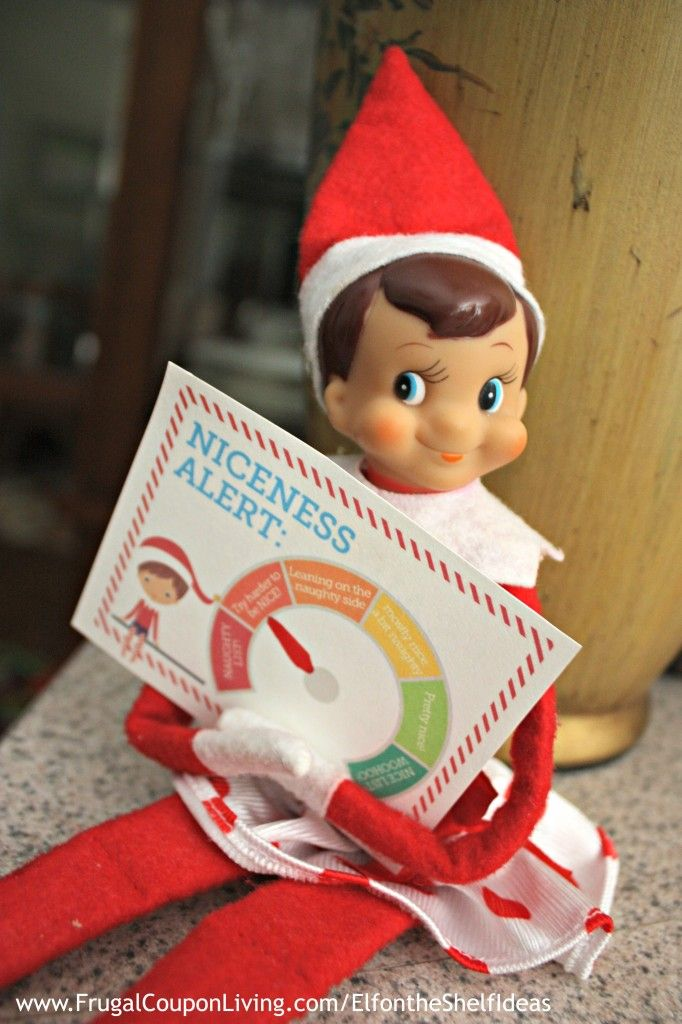"""FREE ELf on the Shelf Printable Notes and Daily Ideas - This fun notes features a """"NICENESS ALERT: ___________"""" Has your child been naughty or Nice? Grab on Frugal Coupon Living."""