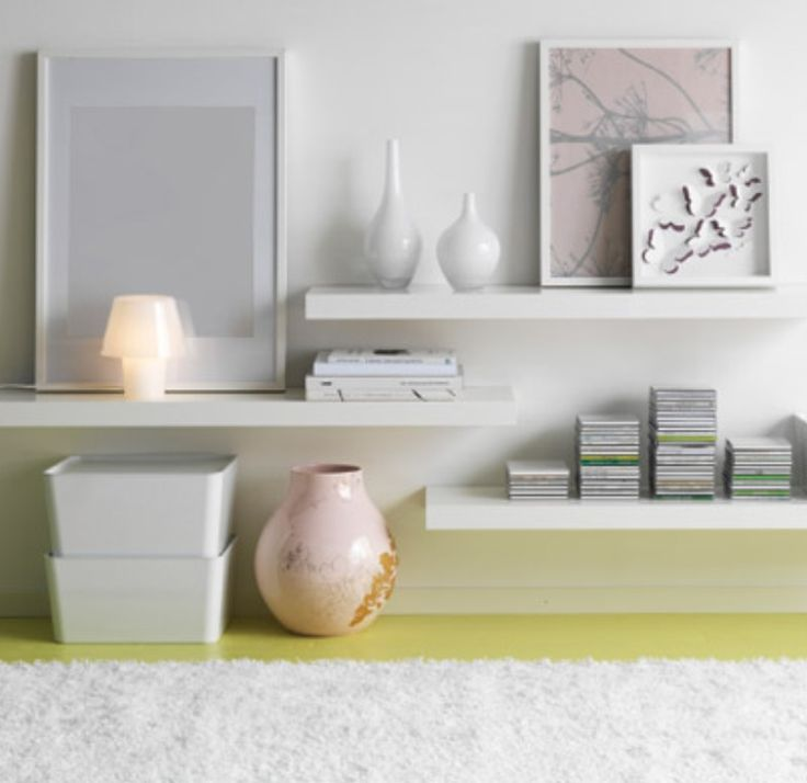 Floating white shelves from ikea use under wall mounted for Mensole ikea lack
