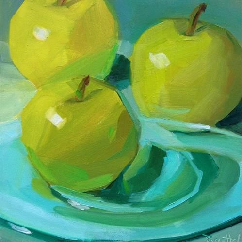 "Daily Paintworks - ""Three Green Apples 2"" - Original Fine ..."