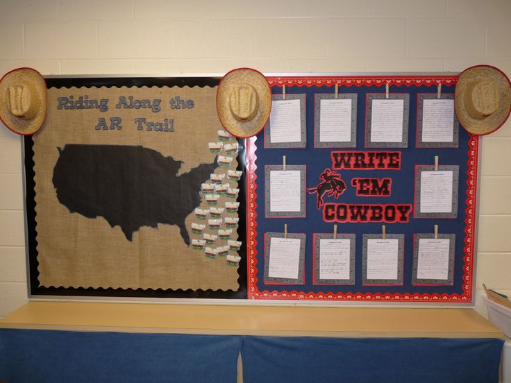 Get ideas for Western themed bulletin boards and more......  http://2busybrunettes.com/2012/07/26/thriller-thursday-a-rootin-tootin-classroom/#