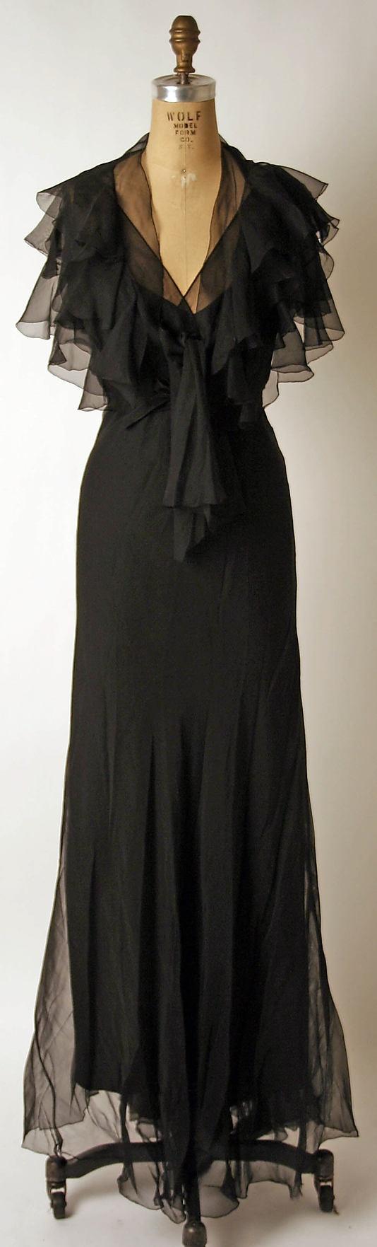 Dress, Nettie Rosenstein, 1930s, American, silk via Metropolitan Museum of Art