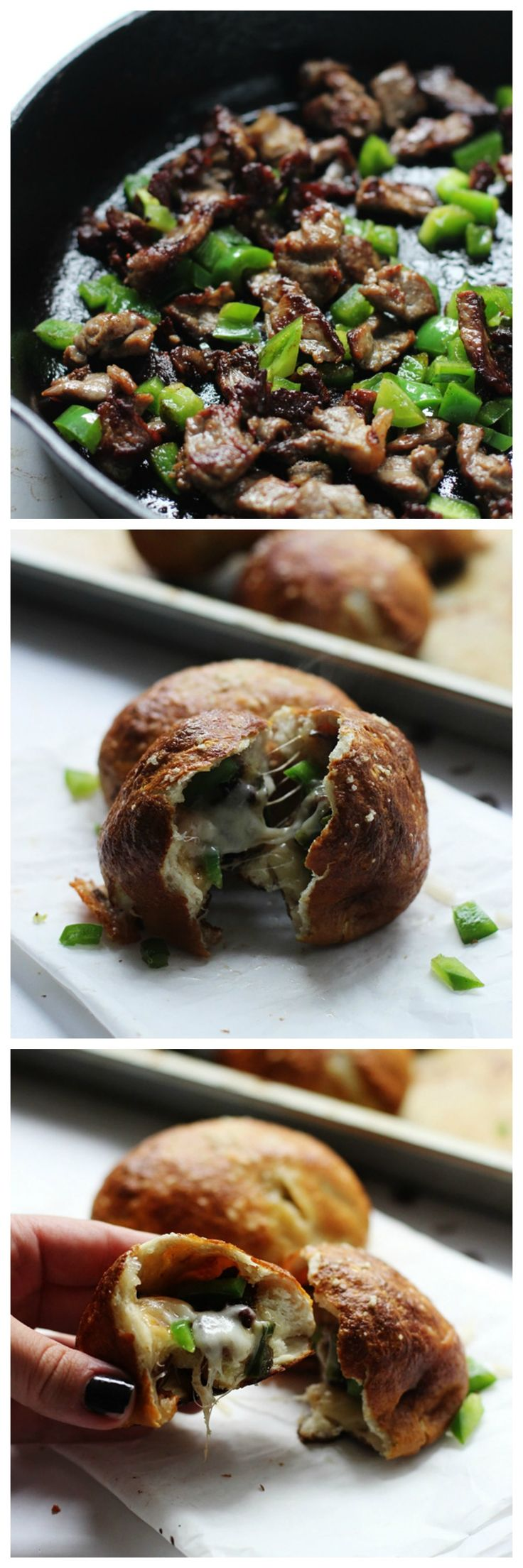 Philly Cheesesteak Pretzel Rolls - Al the flavors of a Philly stuffed in a soft, salty pretzel rolls!