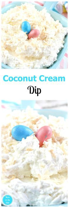 Coconut Cream Dip is super easy to make and deliciously luscious! Toasted coconut with a hint of caramel sauce is just what your Easter party needs. via @momontheside