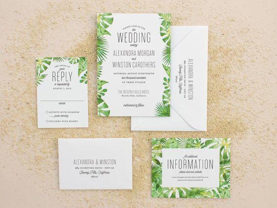 Tropical Wedding Invitations, Destination Wedding Invitation For Beach  Weddings, Watercolor Palm Leaf Invite DEPOSIT