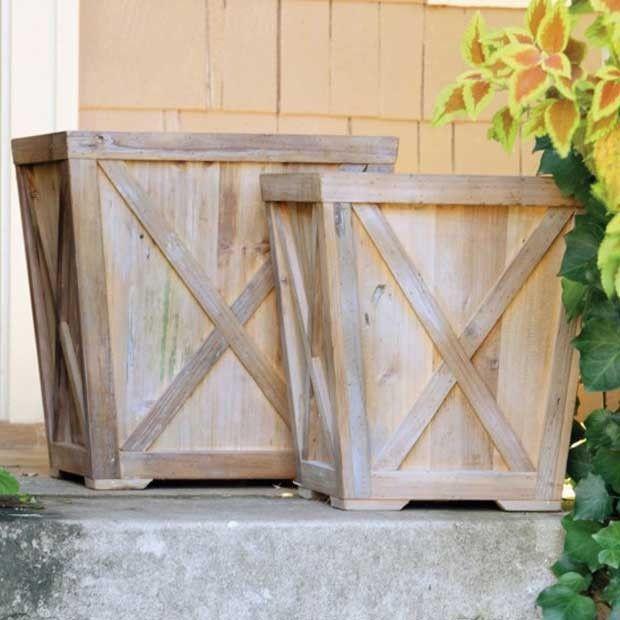 Garden Designs Objects Ideas 2018 Reclaimed Wood Planters Set Of 2 Wood Planters Wood Planter Box Outdoor Decor