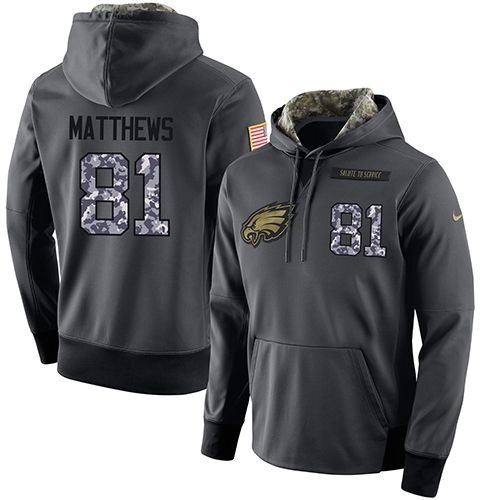 NFL Men's Nike Philadelphia Eagles #81 Jordan Matthews Stitched Black Anthracite Salute to Service Player Performance Hoodie