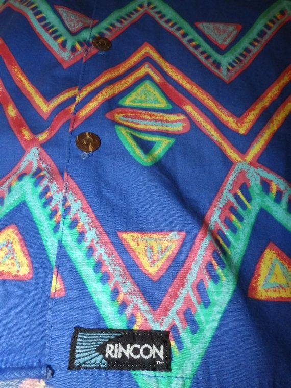 geometric tribal print hawaiian shirt RINCON SURF by vintagezion