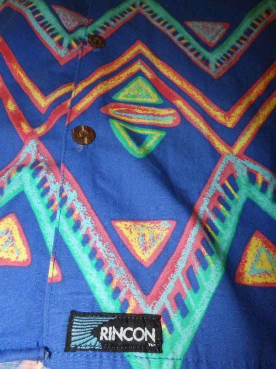geometric tribal print hawaiian shirt RINCON SURF by vintagezion