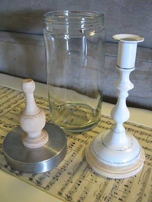 jar, lid, candle stick, & finial.. =apothecary jar