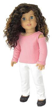 Amerikai lány baba ruhák - Rose hideg váll felső és fehér nadrág