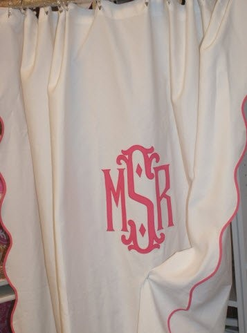 monogrammed shower curtain more preppy bathroom monogram shower