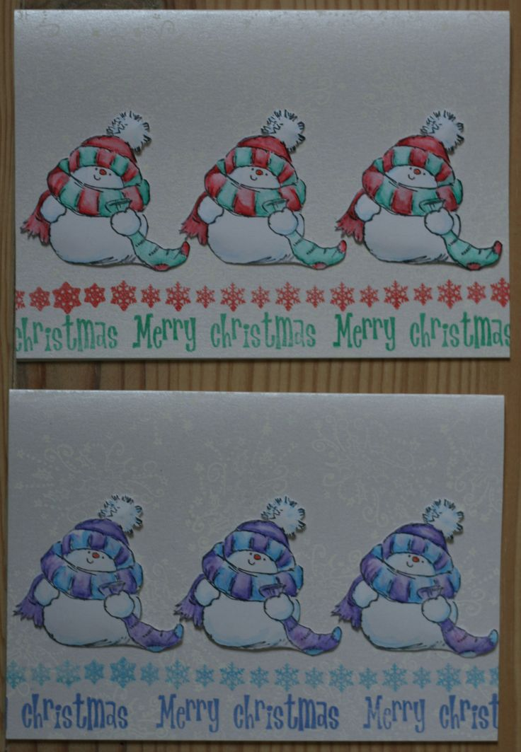 not 1, not 2 ... but 3 snowy snowmen! Snowy (Penny Black) is stamped with Stazon jet black and colourized with watercolour pencils. background: white metallic cardstock & colorbox frost white Merry Christmas!