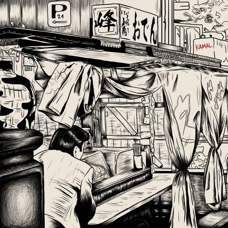 drinking alone, artwork by: kamal Kurniawan