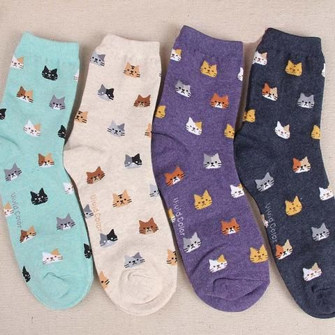 Lovely Cat Cotton Socks - Two Stupid Cats  Let the subtle show of these cute Cat print cotton socks under your jeans reveal your Cat personality.  Material: Cotton Length: 30 cm