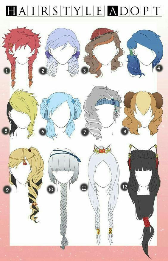 Hairstyle Adopt, hairstyles, girl, woman, text; How to Draw Manga/Anime